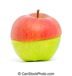 Two halves - An apple made up of half green, half red