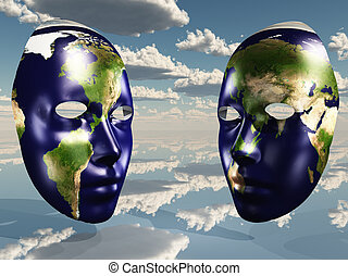 Two halves of earth on faces