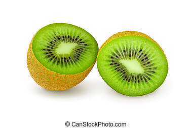 Two halves of juicy kiwi fruit on a white background
