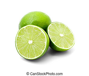Two halves of lime and one whole lime isolated on white