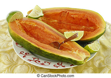 Two Halves of Papaya