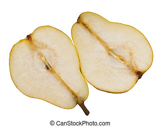 Two halves of pears on a white back