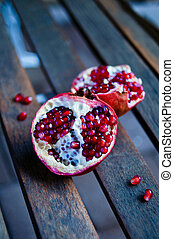 Two halves of pomegranate