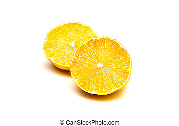 Two halves of yellow lemon, isolate on white