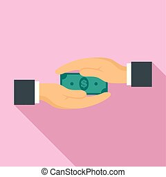 Two hand bribery money icon, flat style
