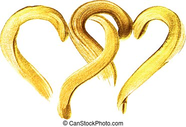 Two hand-drawn gold hearts. - Two hand-drawn gold hearts on ...