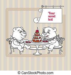 Two Hand drawn white cute Teddy Bear eating cake.