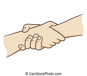 Two Hand Holding Each Other With Strong Grip, vector...