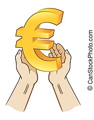 Two Hand Holding Euro Currency Symbol