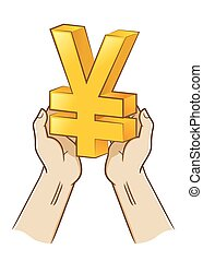 Two Hand Holding Yen Currency Symbol