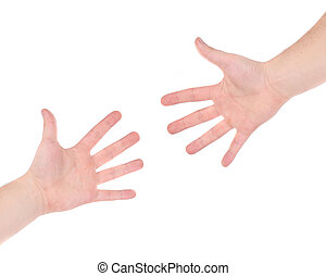 Two hand reaching each other.