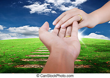Two hand touch for love.