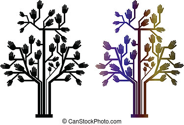 two hand tree - vector illustration of two-hand tree