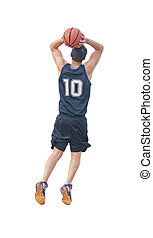 two-handed dunk on white background