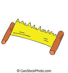 two-handed, eszközök, ács, vektor, fűrész, fűrész, karikatúra