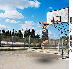 jam in a basketball playground