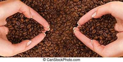 Two handfuls of coffee
