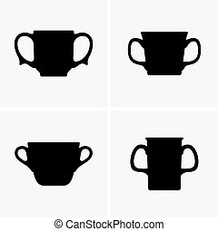 Two handled mugs, shade pictures
