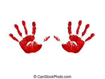 two handprints - Two bright red childs handprints , made ...