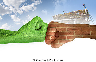 Two hands against each other. Green hand with grass and brick wall hand. Confrontation environment against construction industry. Ecology