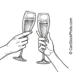 Two hands clinking glasses of champagne. Ink sketch isolated on white background. Hand drawn vector illustration. Retro style.