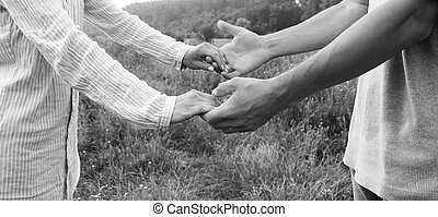 two hands couple of love