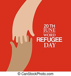Two hands emblem of World Refugee Day