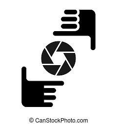 Two hands form a picture frame with camera icon. Photo sign black symbol on white background.