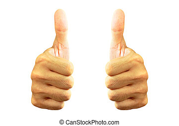 Two hands giving thumbs up
