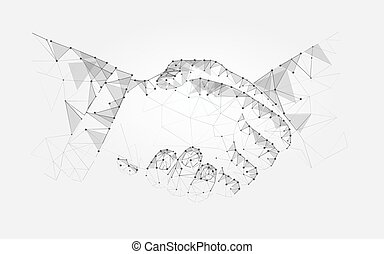Two hands handshake polygonal low poly contract agreement...