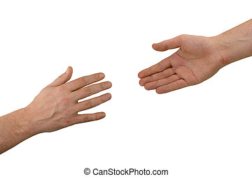 Two hands (help), isolated on white background