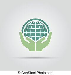 Two hands holding a green planet Earth isolated vector colored icon