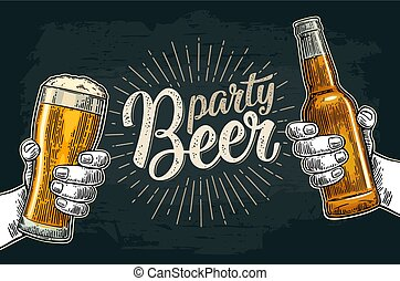 Two hands holding and clinking with beer glasses and bottle