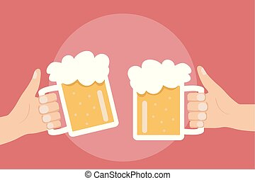 Two hands holding and clinking with beer glasses mug