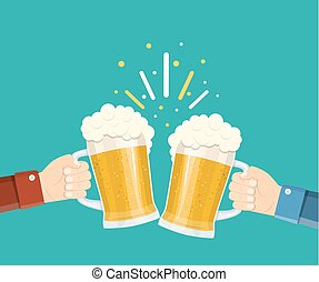 Two hands holding beer glasses.