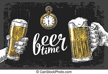 Two hands holding beer glasses mug and antique pocket watch. Hand drawn design element. Vintage vector engraving illustration for web, poster, invitation to beer party. Isolated on dark background.