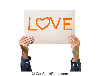 Two hands holding brown cardboard with love overhead on white background
