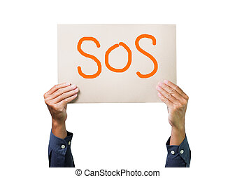 Two hands holding brown cardboard with sos overhead on white background