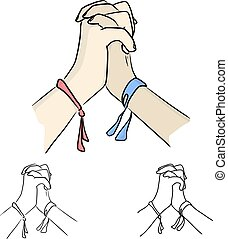 two hands holding each other vector illustration sketch doodle hand drawn with black lines isolated on white background. Teamwork business concept.