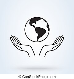 Two hands holding Earth icon. Vector illustration line art