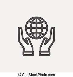 Two hands holding globe thin line icon
