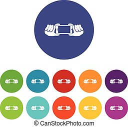 Two hands holding mobile phone set icons