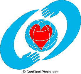 Two hands holding planet earth Environmental icon vector.
