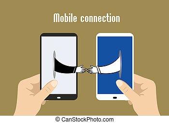 Two hands holding smart phones, hands toward each other, mobile phones.