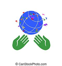 Two hands holding the globe with birds fluttering around.
