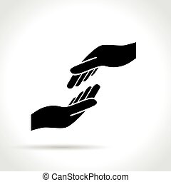 two hands icon on white background