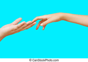 Two hands isolated on a sky blue background