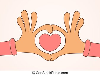 Two hands making heart sign. Love, romantic concept.