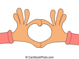 Two hands making heart sign. Love, romantic concept. Valentine d