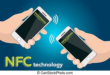 Two Hands mobile phones with NFC processing payment...